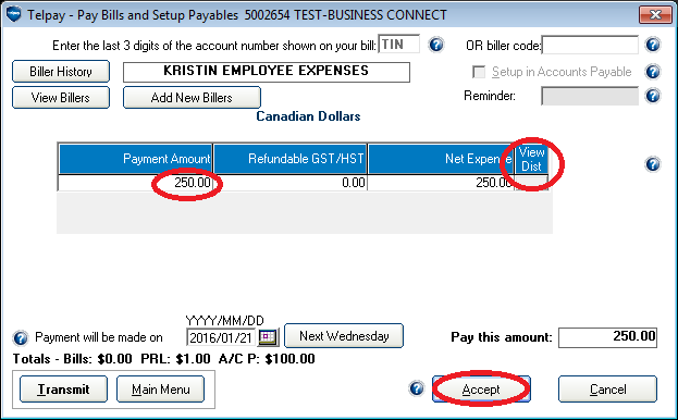 how to pay employee expenses in myob